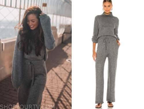 caila quinn, the bachelor, grey sweater and sweatpants