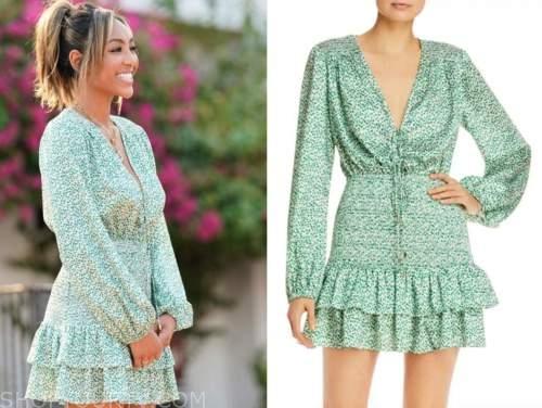 tayshia adams, the bachelorette, green printed dress