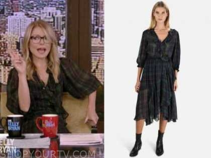 kelly ripa, live with kelly and ryan, green tartan plaid ruffle midi dress
