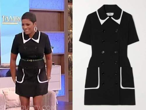 tamron hall, black double breasted dress, tamron hall show