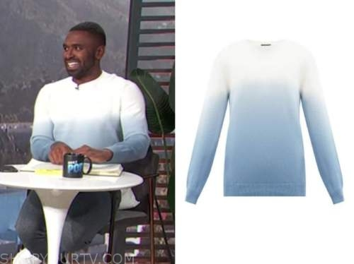 justin sylvester, E! news, daily pop, blue and white ombre sweater