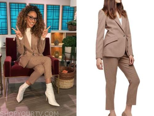 elaine welteroth, the talk, houndstooth blazer and pant suit