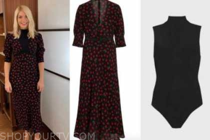 holly willoughby, this morning, black and red floral midi dress, black turtleneck top