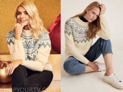 holly willoughby, this morning, fair isle sweater