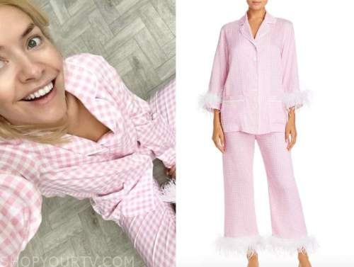 holly willoughby, this morning, pink gingham feather trim pajama set
