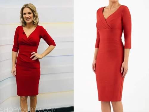 charlotte hawkins, good morning britain, red pencil dress