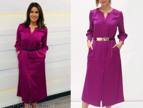 susanna reid, purple silk midi dress, good morning britain