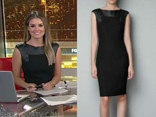 jillian mele, fox and friends, black leather panel sheath dress