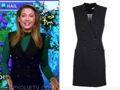 ginger zee, good morning america, black double breasted vest dress