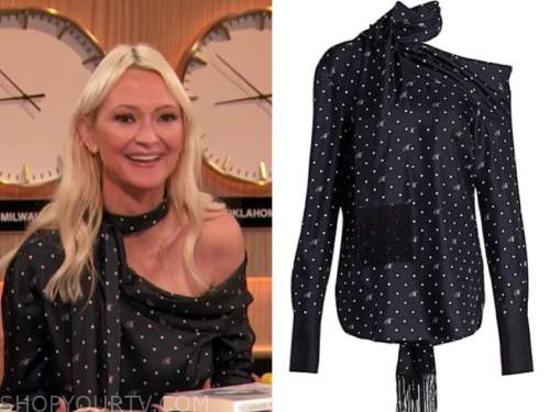 zanna roberts rassi, the drew barrymore show, dot logo blouse