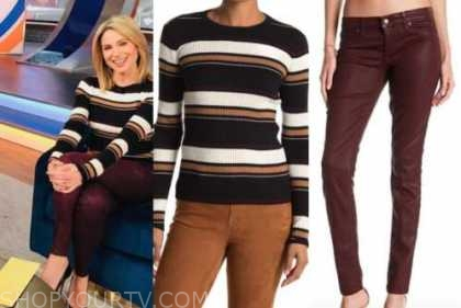 amy robach, black striped sweater, burgundy leather pants