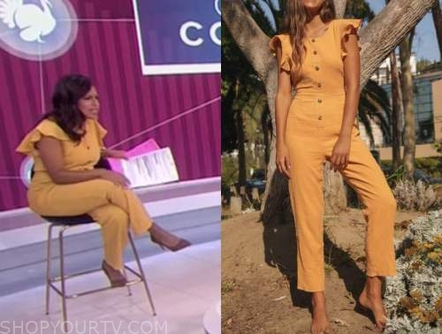 sheinelle jones, the today show, yellow ruffle jumpsuit
