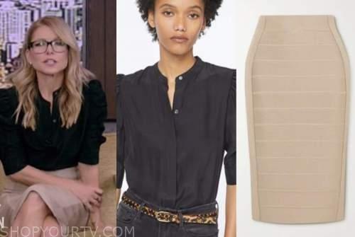 kelly ripa, live with kelly and ryan, black shirt, beige bandage skirt