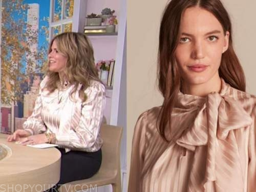 jenna bush hager, the today show, blush pink satin striped tie neck blouse