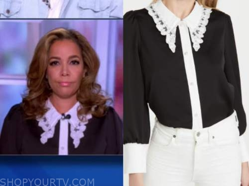 sunny hostin, black and white lace collar shirt, the view