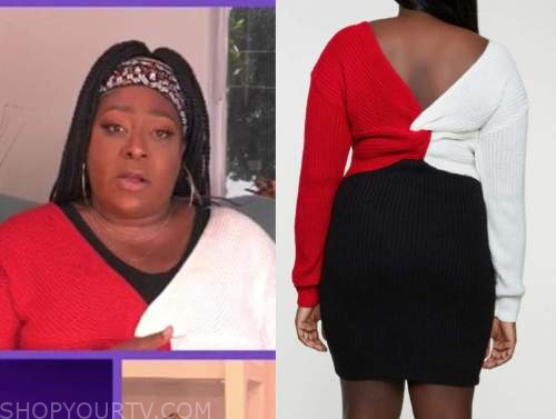 loni love, the real, red and white twist colorblock sweater dress