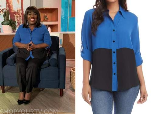 sheryl underwood, the talk, blue and black colorblock shirt