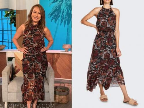the talk, carrie ann inaba, floral metallic halter midi dress