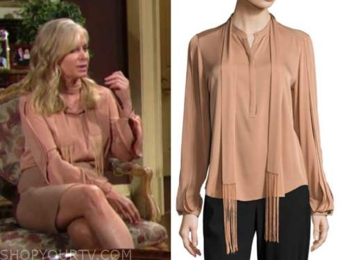the young and the restless, ashley abbott, eileen davidson, beige tie neck fringe blouse