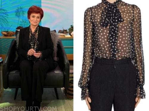 sharon osbourne, the talk, black dot tie neck blouse