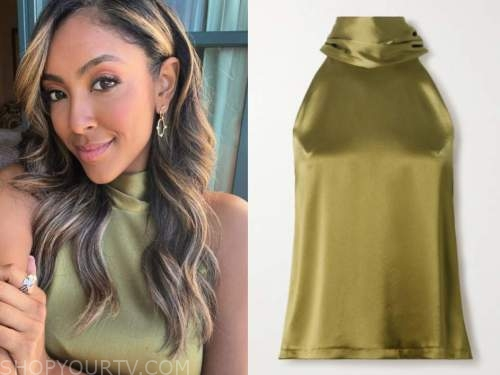 tayshia adams, green satin halter top, live with kelly and ryan