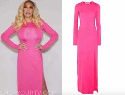wendy williams, the wendy williams show, pink slit long sleeve dress