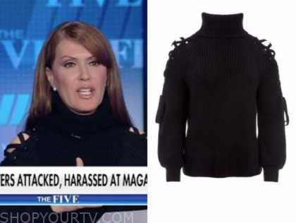 dagen mcdowell, the five, black lace-up turtleneck sweater