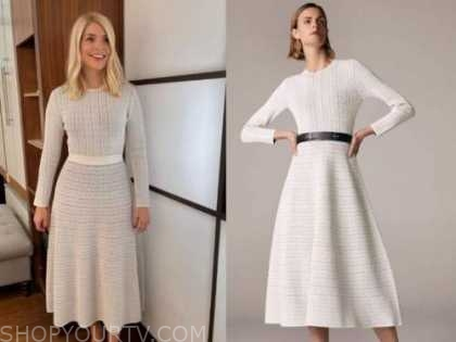 this morning, holly willoughby, white knit midi dress