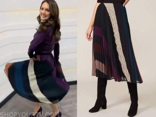 laura tobin, good morning britain, pleated geometric midi skirt