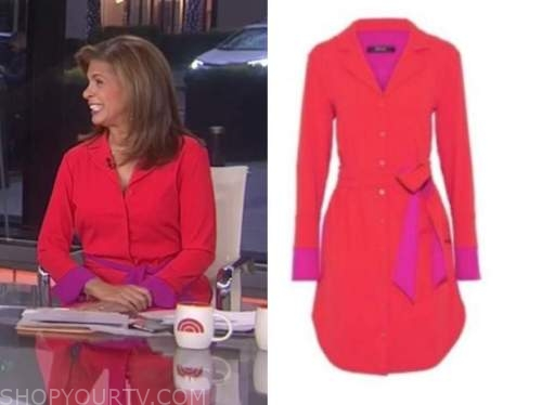 hoda kotb, the today show, red and purple colorblock shirt dress
