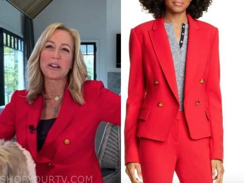 good morning america, lara spencer, red double breasted blazer