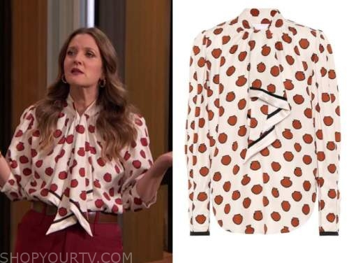 drew barrymore, drew barrymore show, red and white dot tie neck blouse