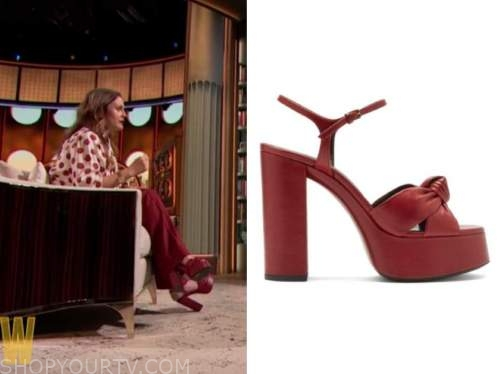 drew barrymore, red platform knot sandals, the drew barrymore show