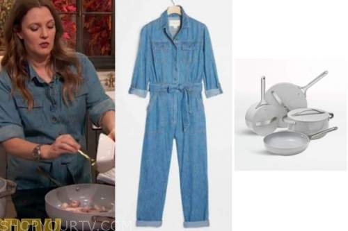 drew barrymore, drew barrymore show, denim jumpsuit, grey cookware set