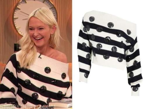 zanna roberts rassi, the drew barrymore show, sequin stripe polka dot sweater