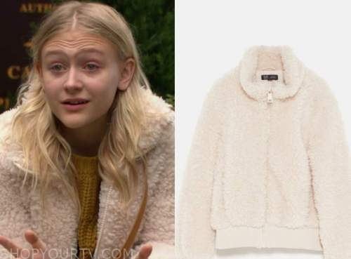 the young and the restless, faith newman, alyvia alyn lind, beige fleece bomber jacket