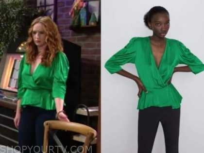 mariah copeland, camryn grimes, the young and the restless, green satin top