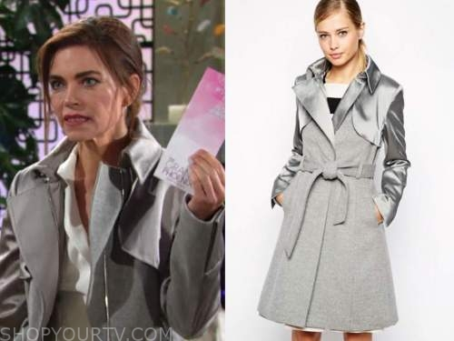 victoria newman, amelia heinle, the young and the restless, silver wrap coat