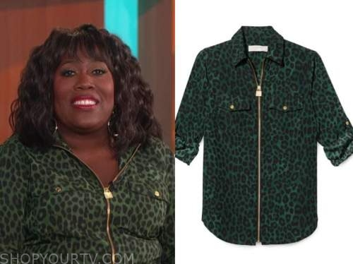 sheryl underwood, the talk, green leopard zip-front top