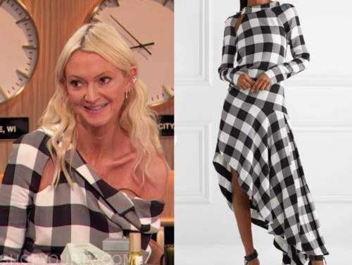 drew barrymore show, zanna roberts rassi, black and white check asymmetric dress