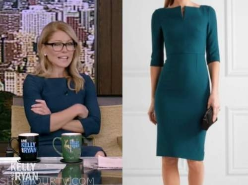 kelly ripa, teal green dress, live with kelly and ryan