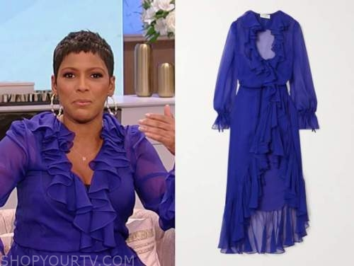 tamron hall, tamron hall show, blue purple ruffle midi dress