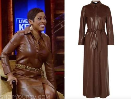 tamron hall, live with kelly and ryan, brown leather shirt dress