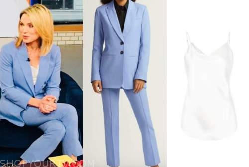 amy robach, good morning america, blue pant suit, white camisole top