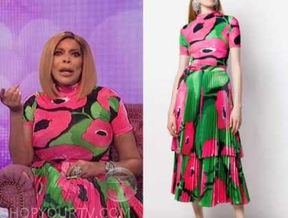 wendy williams, red and pink floral dress, top and skirt, the wendy williams show