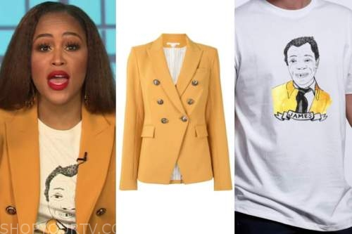 eve, the talk, mustard yellow double breasted blazer, james baldwin tee