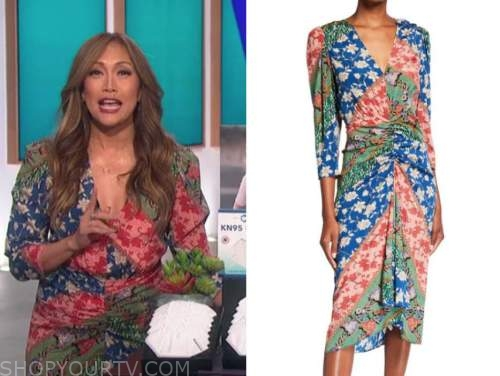 red, blue, and green printed midi dress, the talk, carrie ann inaba