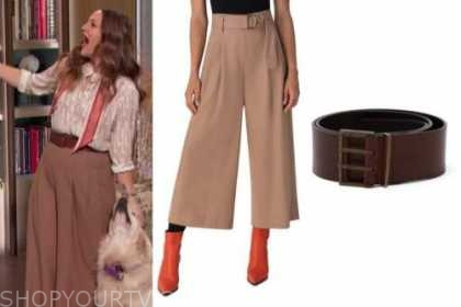 drew barrymore, drew barrymore show, beige cropped wool pants, brown belt