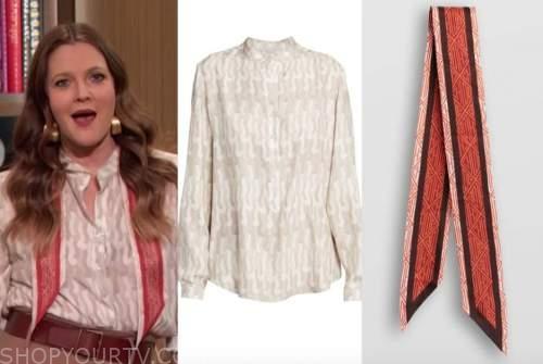 drew barrymore, drew barrymore show, grey printed blouse, orange silk scarf