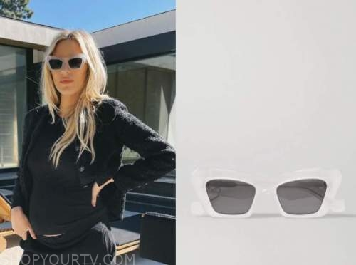morgan stewart, clear cat eye sunglasses, instagram